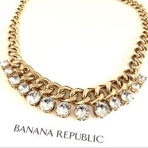 BANANA REPUBLIC golden crystal Statement necklace